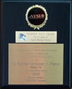 A Better Answer wins 2013 Answering Service Award for all 3 Offices!