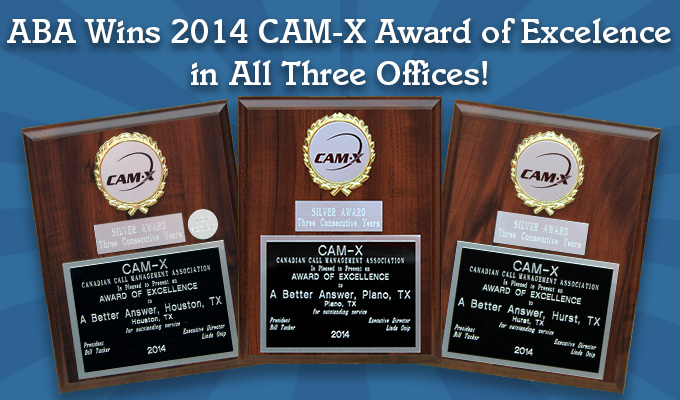 3 Consecutive Years ABA offices win CAM-X Award!